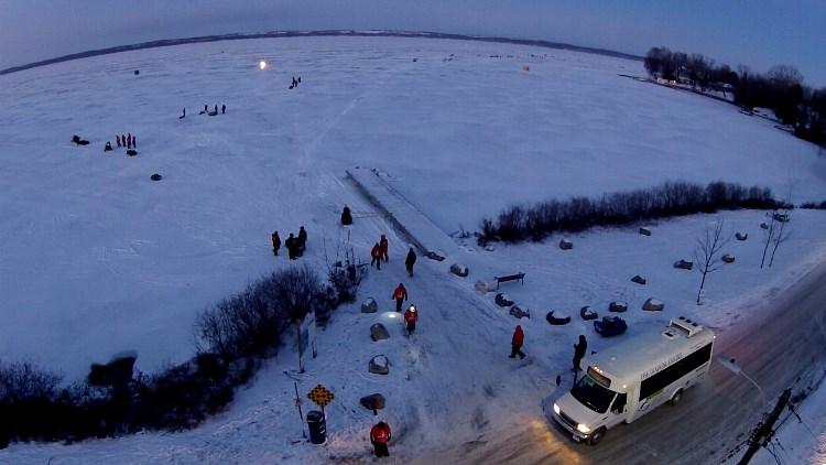 Aerial Shot 3 Lake Simcoe Championship Ice Fishing Derby